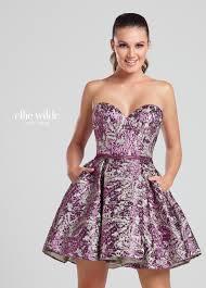 strapless metallic a line short prom dress with pockets ew117041