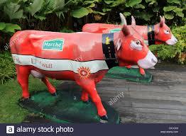 marche restaurant cow outside marche restaurant in singapore stock