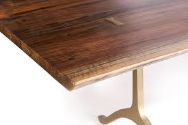 Walnut Live Edge Table by Detail Shot Of A Recently Made Walnut Live Edge Table With Brass