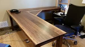 solid l shaped desk solid walnut liveedge l shape desk boulder furniture arts custom