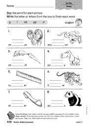 number names worksheets medial vowel worksheets free printable