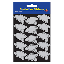 graduation cap stickers 48 sheets grad cap stickers silver bulk party supplies