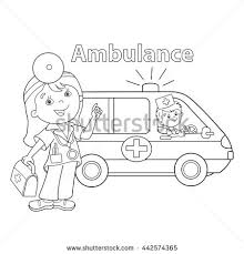 coloring outline cartoon doctor ambulance stock vector
