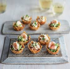 crab canapes crab chilli and lime filo tartlets and prawn wasabi mayo and