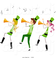 vector clipart of a cartoon st patrick u0027s day stick people playing