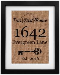 our first home burlap print housewarming gift new home sign