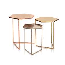 Hexagon Side Table Set Of Three Hexagon Metallic Nesting Tables Oliver Bonas