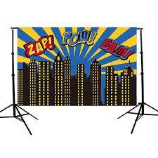Superhero Backdrop Amazon Com 5x3ft Vinyl Zap Pow Bam Children U0027s Theme
