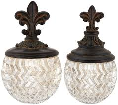 Fleur De Lis Canisters For The Kitchen S 2 Decorative Glass Bowls With Fleur De Lis Top Page 1 U2014 Qvc Com
