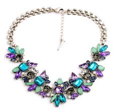 trendy flower necklace images Trendy blue purple gem flower statement chunky bib necklace jpg