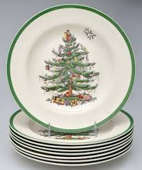 spode dinner plates spode tree green trim at