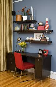 office desk with bookshelf floating shelves above desk home office contemporary with dark