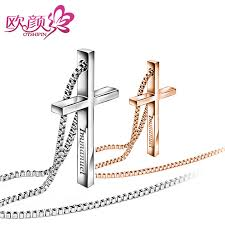 mens engraved necklaces ouyan couples necklaces gold silver cross necklaces for