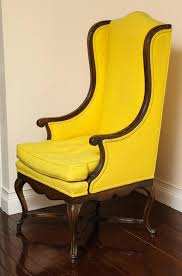 French Yellow Chair Vintage French Provincial Walnut Tall Back Wing Chair For Sale At