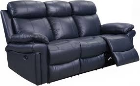 Elegant Navy Blue Leather Reclining Sofa 65 In Sofas And Couches