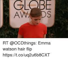 Flips Hair Meme - globe rt emma watson hair flip httpstcouq2u6b8cxt emma watson