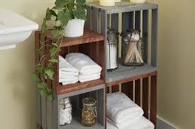 Diy Bathroom Storage Bathroom Storage Shelves Made From Wooden Crates