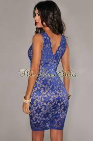 royal blue lace illusion knee length dress
