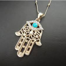 hamsa eye necklace images Gold hamsa hand rhinestone evil eye pendant lucky jewelry jpg
