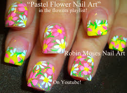easy spring flowers nail art cute pastel daisy nails youtube
