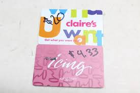 claires gift card gift cards s icing 24 33 value 2 cards property room