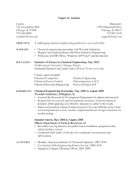 Sample Resume Word Pdf by Sample Resume Chemical Engineering Internship Engineer Template