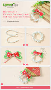 how to make a christmas ornament wreath with pearl beads and