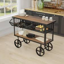Iron Home Decor by Yosemite Home Decor Mango Wood Kitchen Cart With Drawers Yfur