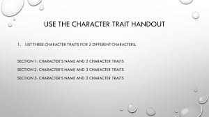 Character Trait Worksheet Question Start Question With How Or Why End With A Question Mark
