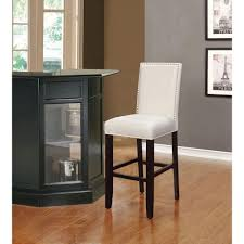 linon home decor stewart 30 in crystal white cushioned bar stool