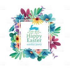 banner design template with floral decoration for spring easter