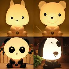 Kids Lighting Cartoon Animal Led Desk Table Light Cute Panda Bear Rabbit Dog