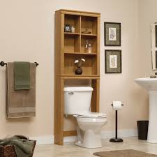 furniture brown wooden over the toilet storage with cube shelves