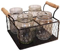kitchen canisters and jars 4 compartment wire metal basket with jars rustic kitchen