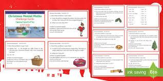 year 3 christmas mental math challenge cards english hindi