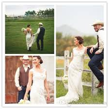 discount vintage country wedding dresses portrait lace gowns open