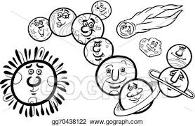 vector art solar system planets coloring eps clipart
