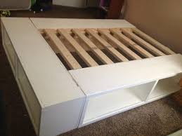 Platform Bed Frame With Storage Plans by Bed Frames How To Build A Queen Size Bed Diy Queen Platform Bed