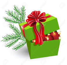 gift box with decorations and bow royalty free
