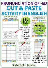 ed pronunciation in english u2013 cut and paste activity woodward