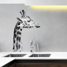 black and white giraffe wall sticker by oakdene designs black and white giraffe wall sticker