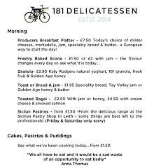 Professional Skills List For Resume 181 Delicatessen Menu Menu For 181 Delicatessen Bruntsfield
