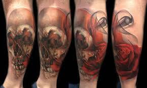 skull and rose tattoo by sebastian nowacki inkedcollector