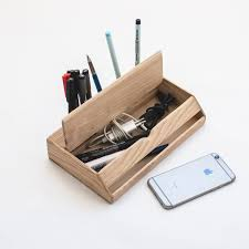 estuche wood desk organizer u2013 pen holder and iphone stand