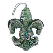 turquoise jeweled fleur de lis ornament home accessories