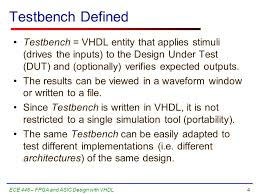Test Benches In Vhdl Simple Testbenches Behavioral Modeling Of Combinational Logic