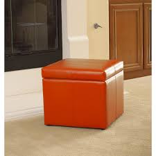 Stow Ottoman by Adorable Orange Storage Ottoman Square Orange Microfiber Cube