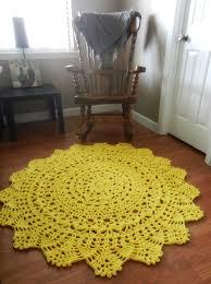 Yellow Circle Rug Yellow Doily Round Rug Crochet Doily Rug Shabby Chic By Evavillain