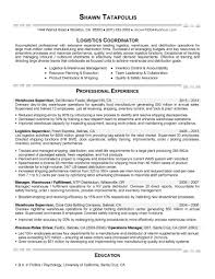 Sample Resume Logistics Coordinator by Logistics Coordinator Resume Free Resume Example And Writing