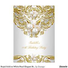 Invitation Card Of Birthday Party Royal Gold On White Pearl Elegant Birthday Party Card Invitation